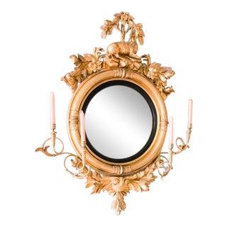 Circa 1820's Carved Giltwood Girandole Convex Mirror