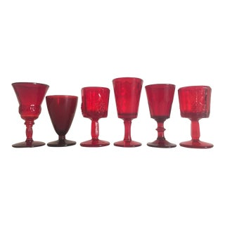 Vintage Mid-Century Ruby Red Wine Glasses - Set of 6