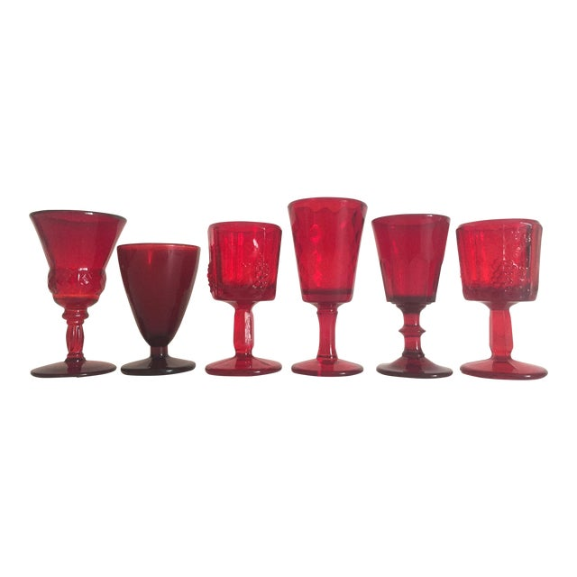 Image of Vintage Mid-Century Ruby Red Wine Glasses - Set of 6
