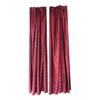 Red Embroidered Silk Drapes - A Pair