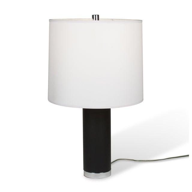 Ralph Lauren Black Leather & Chrome Table Lamp - Image 3 of 8