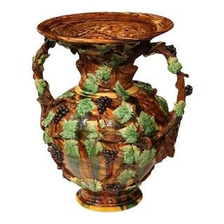 19th Century French Hand-Painted Barbotine Vine Motif Vase
