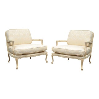 Italian Fratelli Morello French Louis XV Wide Bergere Fireside Chairs - A Pair