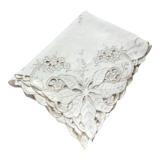 Tan Cutwork Linen & Cotton Tablecloth