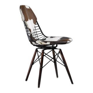 Eames DKW Wire Chair with Unique Cowskin Bikini Seat on Dowel Feet, USA, 1950