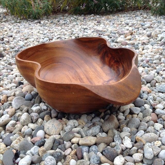 Vintage Carved Wood Monkey Pod Bowl - Image 3 of 11