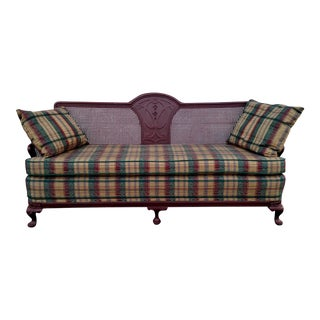 Wood & Cane Back Sofa with Removable Cushions