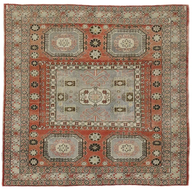 """Distressed Turkish Mid-Century Modern Style Square Rug - 4'3"""" x 4'5"""" - Image 5 of 7"""