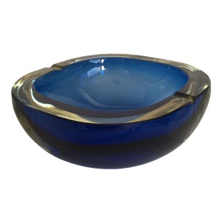 Vintage Blue Glass Ashtray