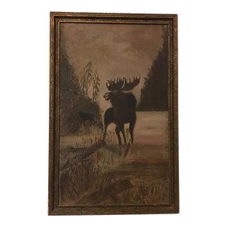 1920's Folk Art Moose Oil Painting