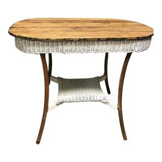 Rustic Wicker & Oak Side Table