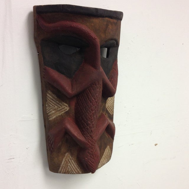 Image of Hand Carved Wooden Mask With Lizard Design