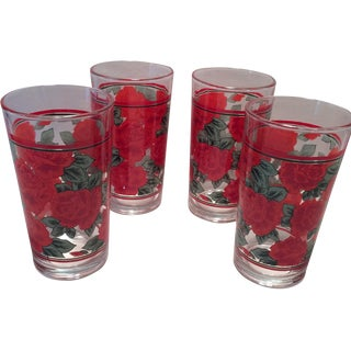 Vintage Rose Pattern Glasses - Set of 4