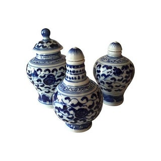 Chinese Blue & White Porcelain Bottles - Set of 3