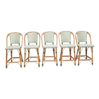 French Bistro Counter Stools by Tk Collections (Rattan & Rilsan) - Set of 5