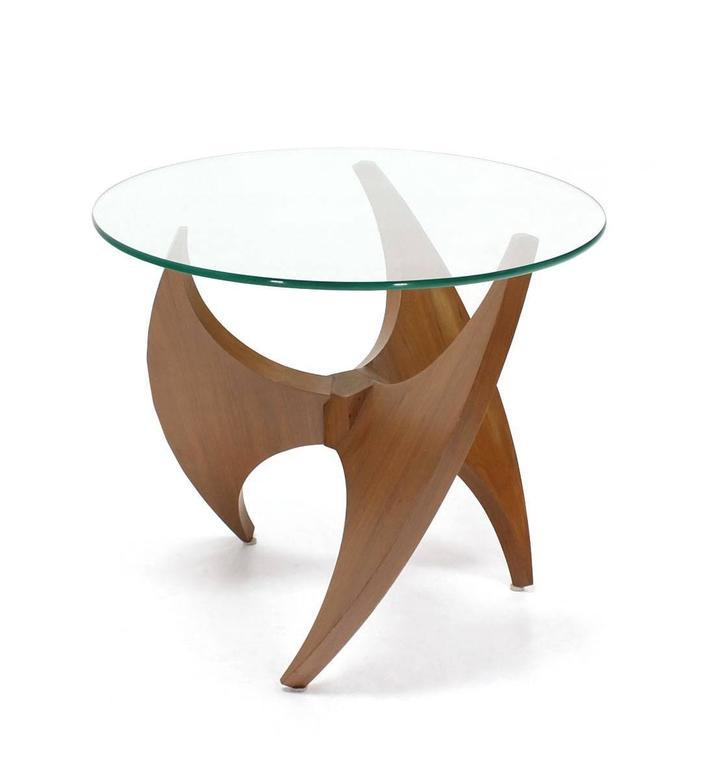 Walnut Propeller Base Glass Top Round End Side Tables   Image 6 Of 8