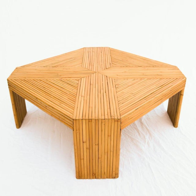 Bamboo Cane Coffee Table: Vintage 1970s Rattan & Bamboo Coffee Table