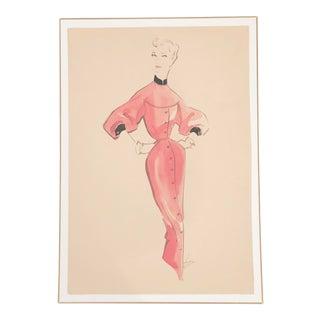 1940s Hendlin Fashion Drawing