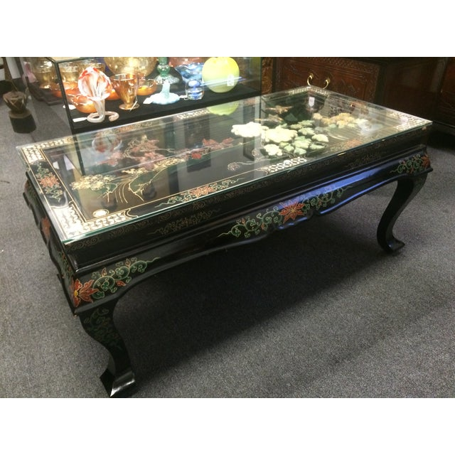 Image of Asian Black Lacquer Embossed Jade Coffee Table