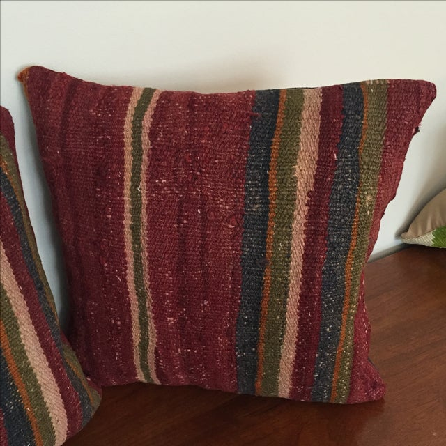 Throw Pillows King Size Bed : Vintage Kilim Throw Pillows - Pair Chairish