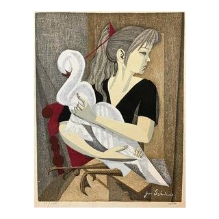 "Jun'Ichirō Sekino Untitled ""Girl and Swan"" Woodblock Print, 1955"