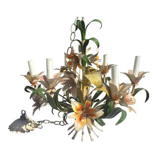 Italian Tole Painted Floral Chandelier