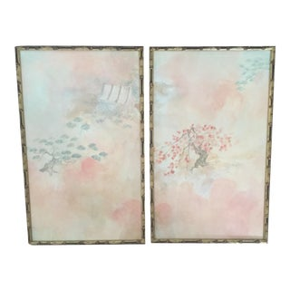 Vintage Chinoiserie Asian Framed Painted Panels - A Pair