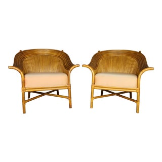 Vintage McGuire Style Rattan Club Chairs - A Pair