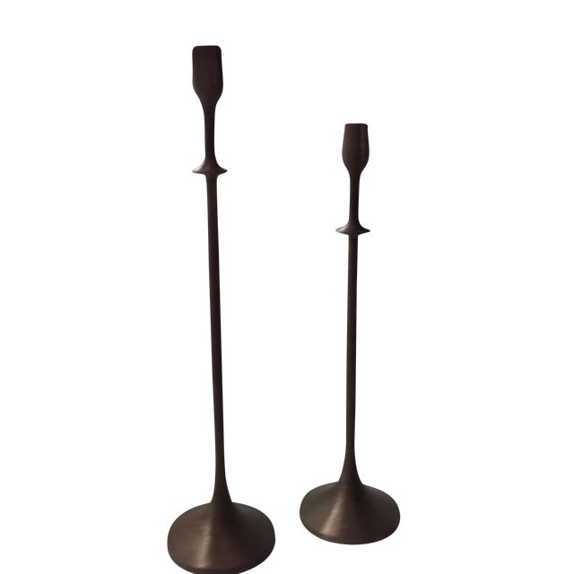 """Interlude 22"""" Brushed Copper Candlestick - Image 1 of 5"""
