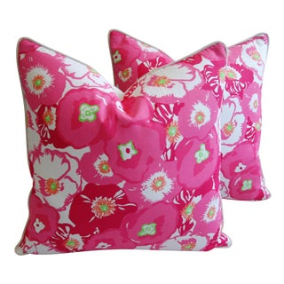 Floral Pink & White Begonia Blossom Pillows - A Pair