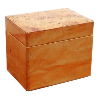 Vintage Leather & Burlwood Trinket Box