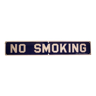 Vintage No Smoking Porcelain Sign
