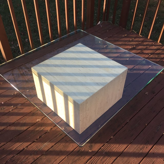 Modern Cube Travertine & Glass Coffee Table - Image 6 of 11