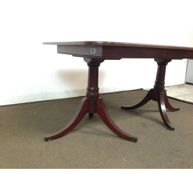 Mahogany double pedestal dining table chairish for Table 52 prices