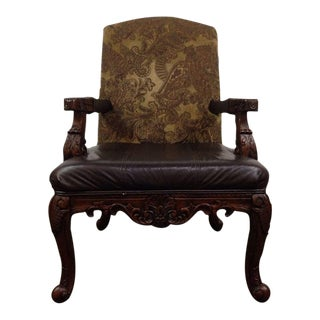 Rococo Style Carved Walnut Upholstered Armchair