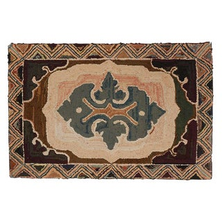 Fantastic Early Geometric Hand-Hooked Mounted Rug, Pennsylvania