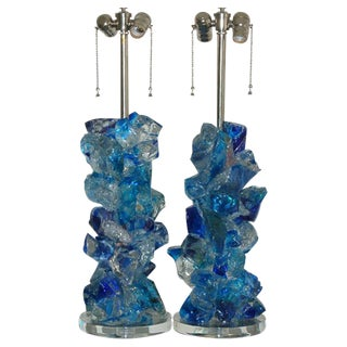 Rock Candy Glass Lamps in Cobalt Crystal