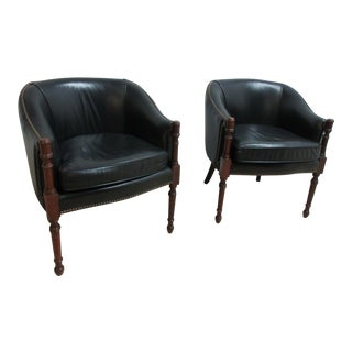 Pair of Vintage Leather Hobnail Regency Fireside Lounge Club Chairs