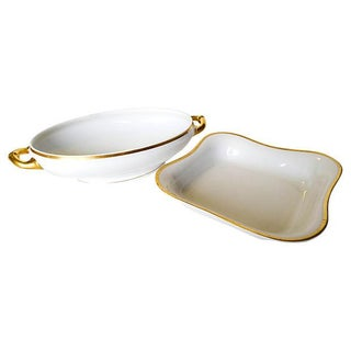 Gilded Edge Serving Bowls- Set of 2