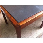 Image of Mid-Century Slate and Walnut End Tables - Set of 3