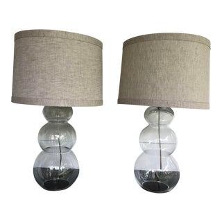 Vintage Glass Triple Gourd Lamps - a Pair
