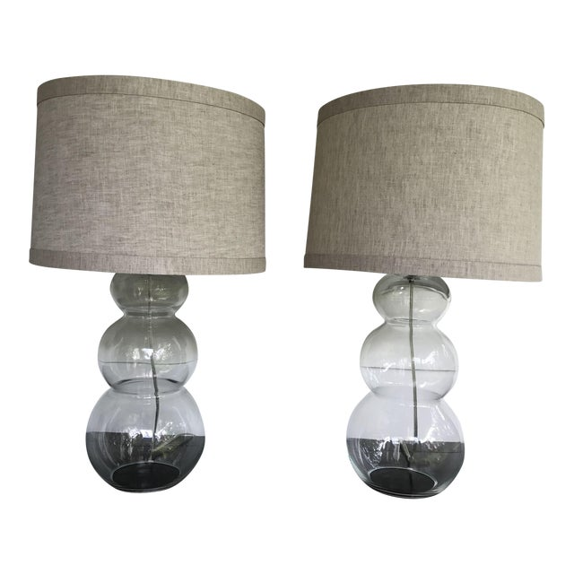 Image of Vintage Glass Triple Gourd Lamps - a Pair