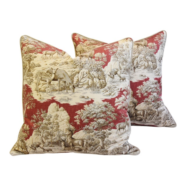 Custom Woodland Toile Deer & Velvet Pillows - a Pair - Image 1 of 10
