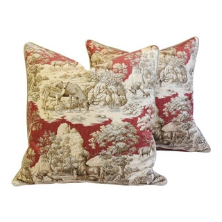 Custom Woodland Toile Deer & Velvet Pillows - a Pair