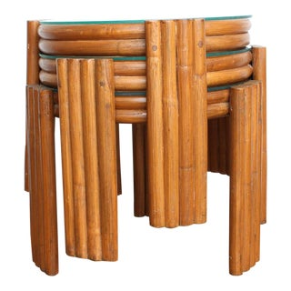 70s Rattan Nesting Tables - Stacking Set of 3