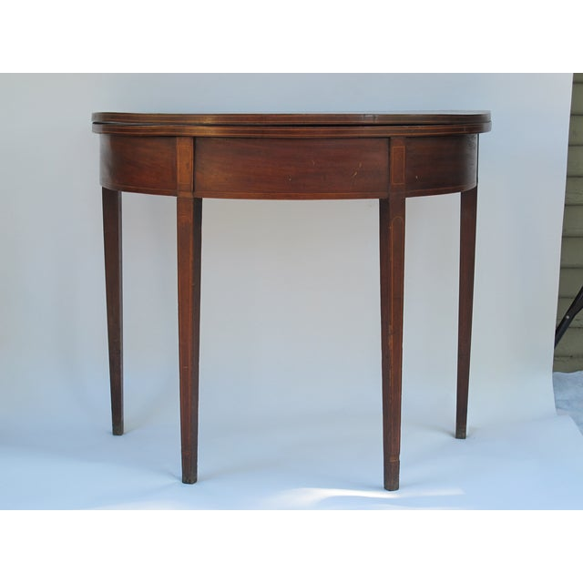 Sheraton-Style Demilune Rosewood Game Table - Image 2 of 11