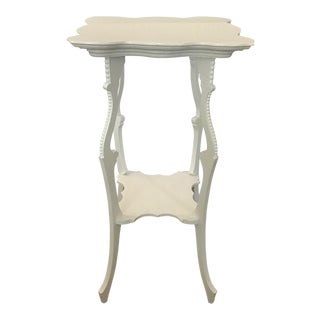 A Petite French Shabby Chic Dove White Finely Detailed Table Hob Nail Detail