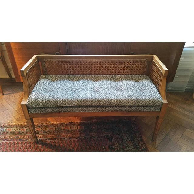 Vintage Cane Bench With Newly Upholstered Cushion Chairish