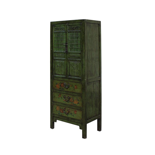 Chinese Distressed Green Narrow Wood Carving Storage Cabinet - Image 3 of 7
