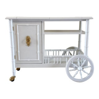 Hollywood Regency Faux Bamboo Bar Cart